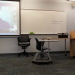 Photo by Jeanne Robinson. Author Lori Shenher Skypes in to the classroom.