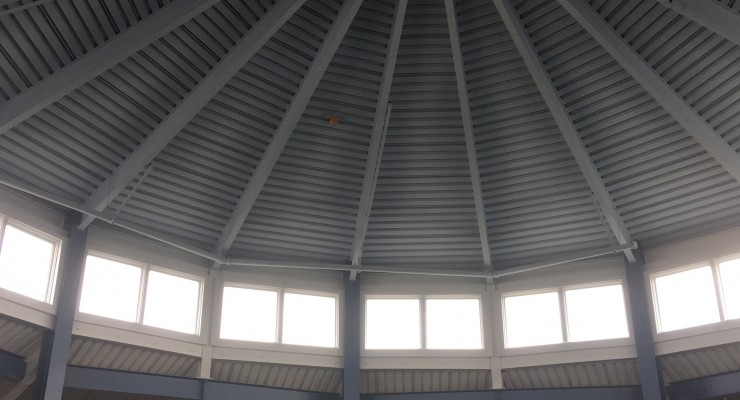 The newly painted dome of the Whitaker Atrium.  Photo by CJ Blickenstaff