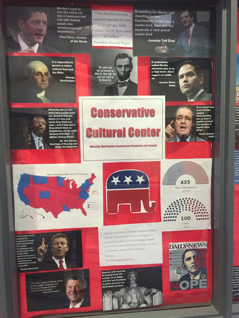 "The poster states ""We invite everyone to our meetings, regardless of political ideology. If you would like to discuss the display or our stances further, please come to our meetings, message our Facebook page or approach us on campus. We meet at 7:30 Sunday nights in Whitaker Commons. Sincerely, The Hood College Republicans."""